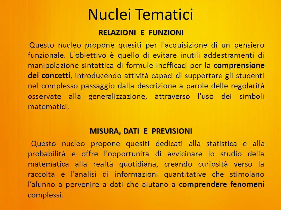 Nuclei Tematici RELAZIONI E FUNZIONI Questo nucleo propone quesiti per l acquisizione di un pensiero funzionale.