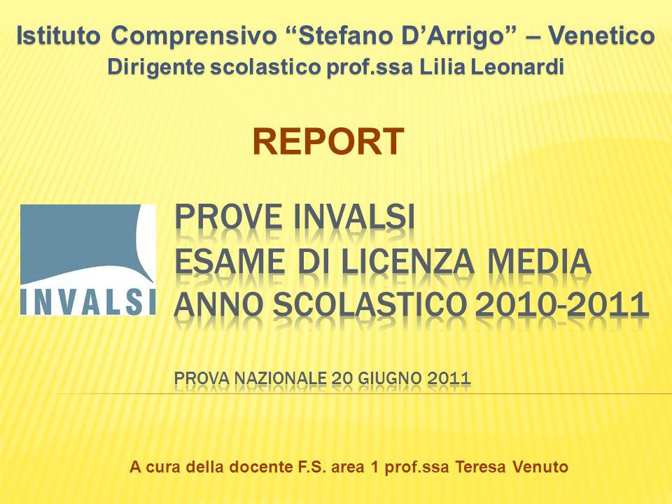 Istituto Comprensivo Stefano D'Arrigo – Venetico Dirigente scolastico prof.ssa Lilia Leonardi REPORT A cura della docente F.S.