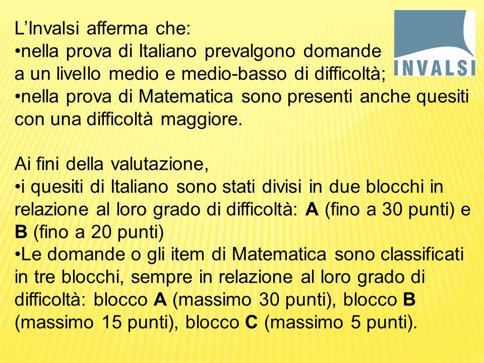 L'Invalsi afferma che: nella prova di Italiano prevalgono domande a un livello medio e medio-basso di difficoltà; nella prova di Matematica sono presenti anche quesiti con una difficoltà maggiore.