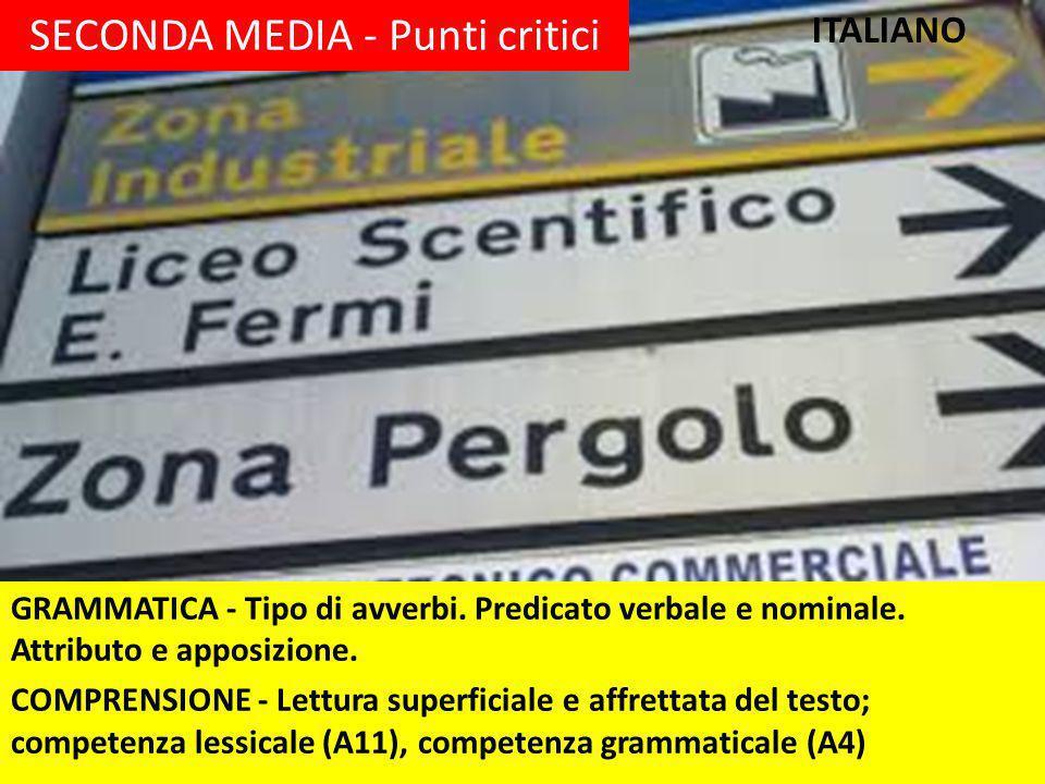 SECONDA MEDIA - Punti critici GRAMMATICA - Tipo di avverbi.