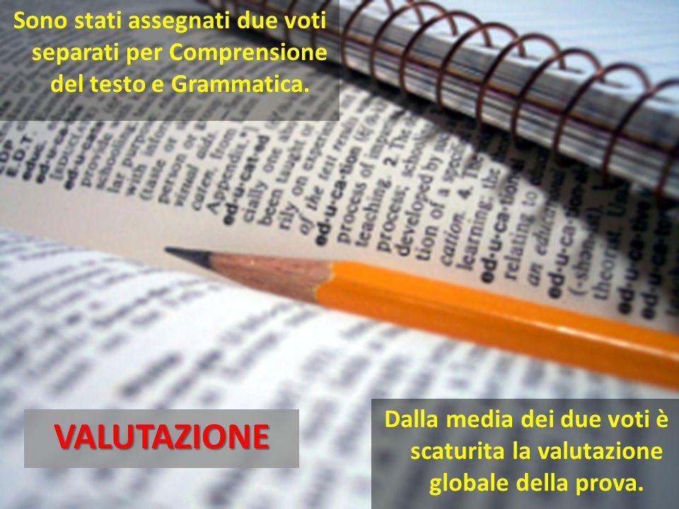 Sono stati assegnati due voti separati per Comprensione del testo e Grammatica.VALUTAZIONE Dalla media dei due voti è scaturita la valutazione globale della prova.