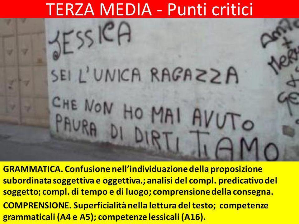 TERZA MEDIA - Punti critici GRAMMATICA.