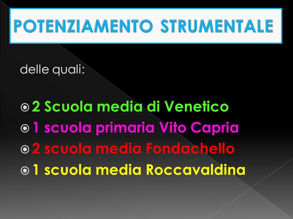 delle quali:  2 Scuola media di Venetico  1 scuola primaria Vito Capria  2 scuola media Fondachello  1 scuola media Roccavaldina