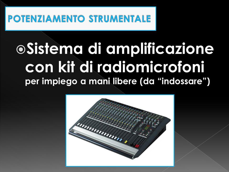 """ Sistema di amplificazione con kit di radiomicrofoni per impiego a mani libere (da """"indossare"""")"""