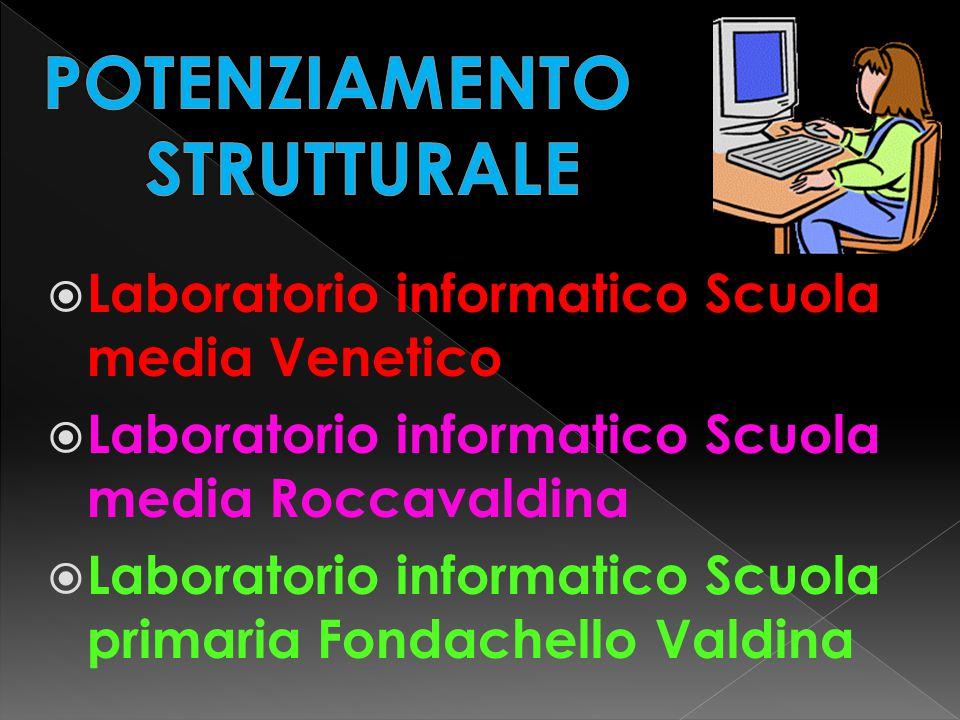 Laboratorio informatico Scuola media Venetico  Laboratorio informatico Scuola media Roccavaldina  Laboratorio informatico Scuola primaria Fondachello Valdina