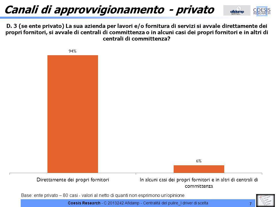 Coesis Research - C 2013242 Afidamp - Centralità del pulire_I driver di scelta 7 Canali di approvvigionamento - privato Base: ente privato – 80 casi - valori al netto di quanti non esprimono un'opinione D.