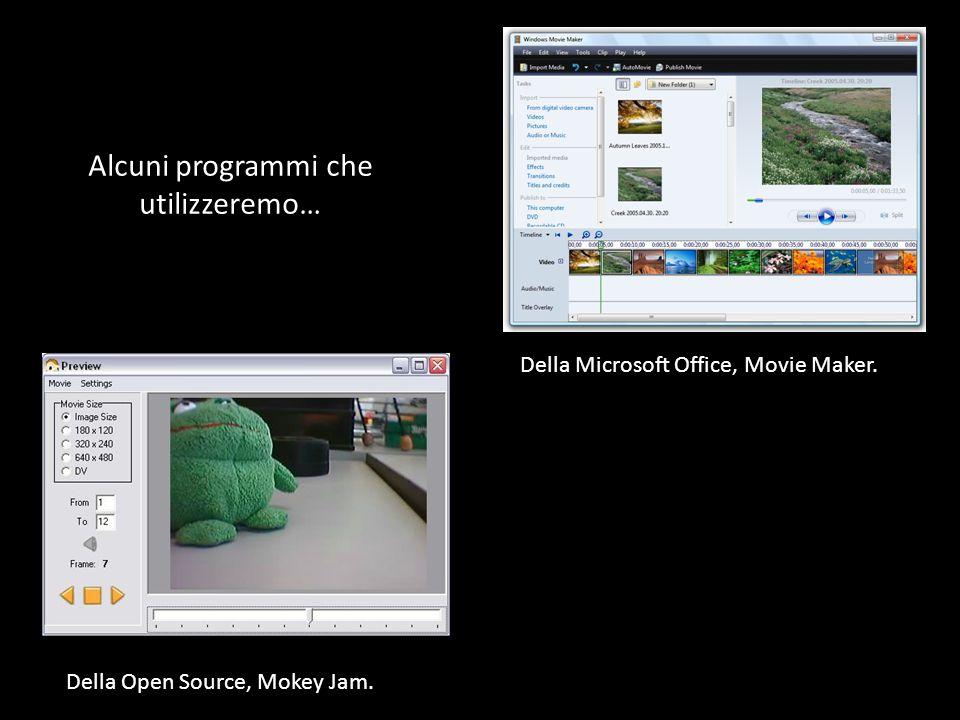Alcuni programmi che utilizzeremo… Della Microsoft Office, Movie Maker.