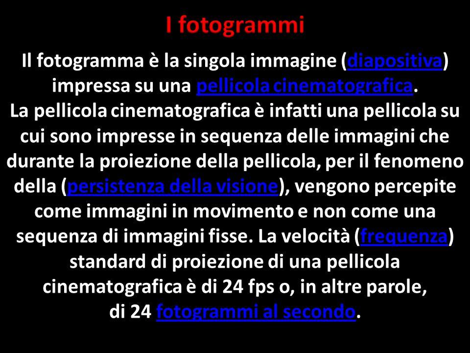 Il fotogramma è la singola immagine (diapositiva) impressa su una pellicola cinematografica.diapositivapellicola cinematografica La pellicola cinematografica è infatti una pellicola su cui sono impresse in sequenza delle immagini che durante la proiezione della pellicola, per il fenomeno della (persistenza della visione), vengono percepite come immagini in movimento e non come una sequenza di immagini fisse.