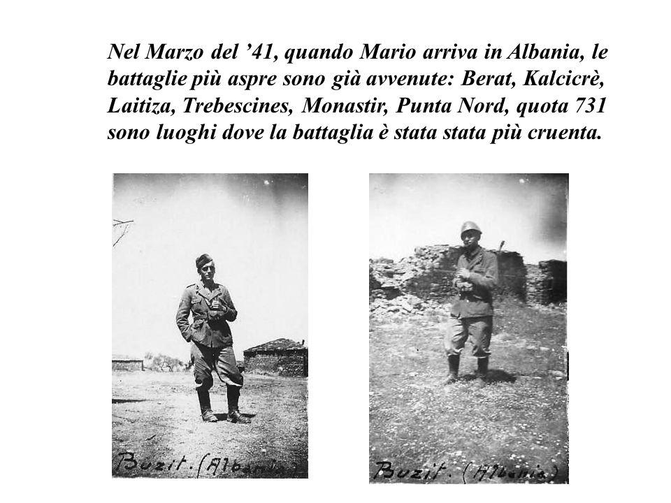 Nel Marzo del '41, quando Mario arriva in Albania, le battaglie più aspre sono già avvenute: Berat, Kalcicrè, Laitiza, Trebescines, Monastir, Punta No