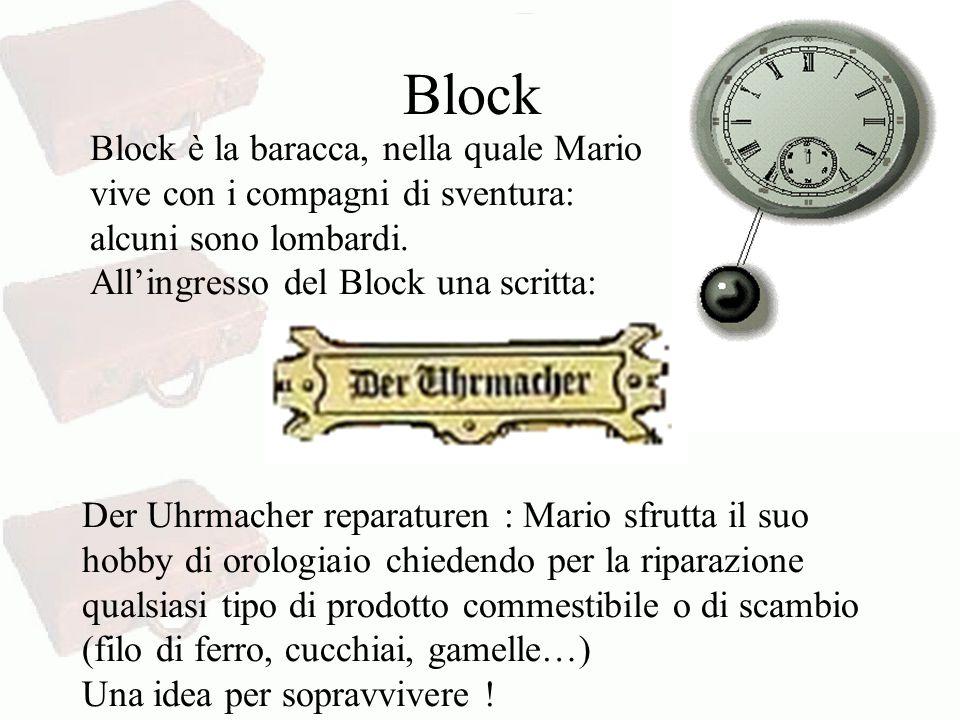 Block Block è la baracca, nella quale Mario vive con i compagni di sventura: alcuni sono lombardi. All'ingresso del Block una scritta: Der Uhrmacher r