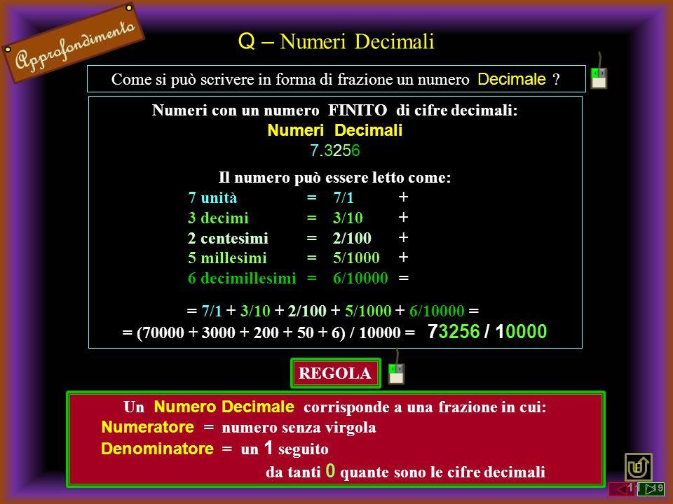 Q – Numeri Decimali Come si può scrivere in forma di frazione un numero Decimale ? Numeri con un numero FINITO di cifre decimali: Numeri Decimali 7.32