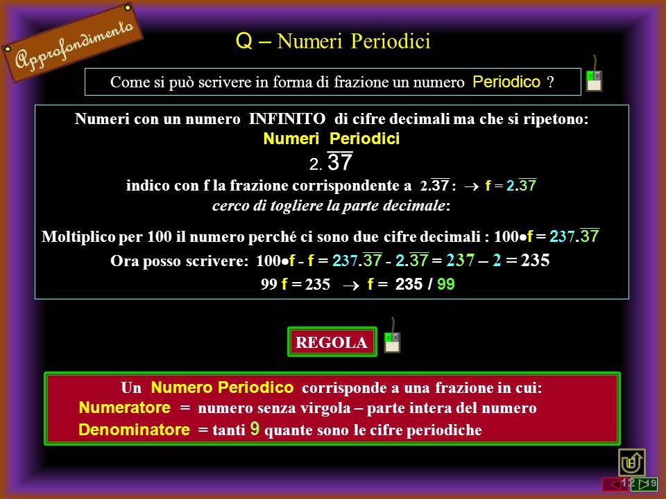 Q – Numeri Periodici Come si può scrivere in forma di frazione un numero Periodico ? Numeri con un numero INFINITO di cifre decimali ma che si ripeton