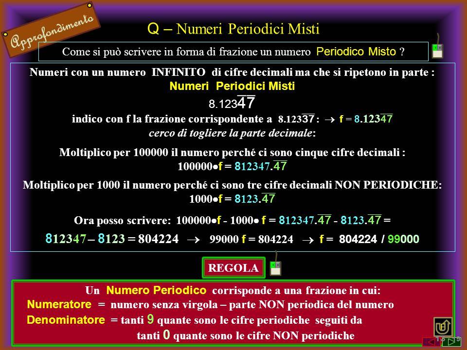 Q – Numeri Periodici Misti Come si può scrivere in forma di frazione un numero Periodico Misto ? Numeri con un numero INFINITO di cifre decimali ma ch