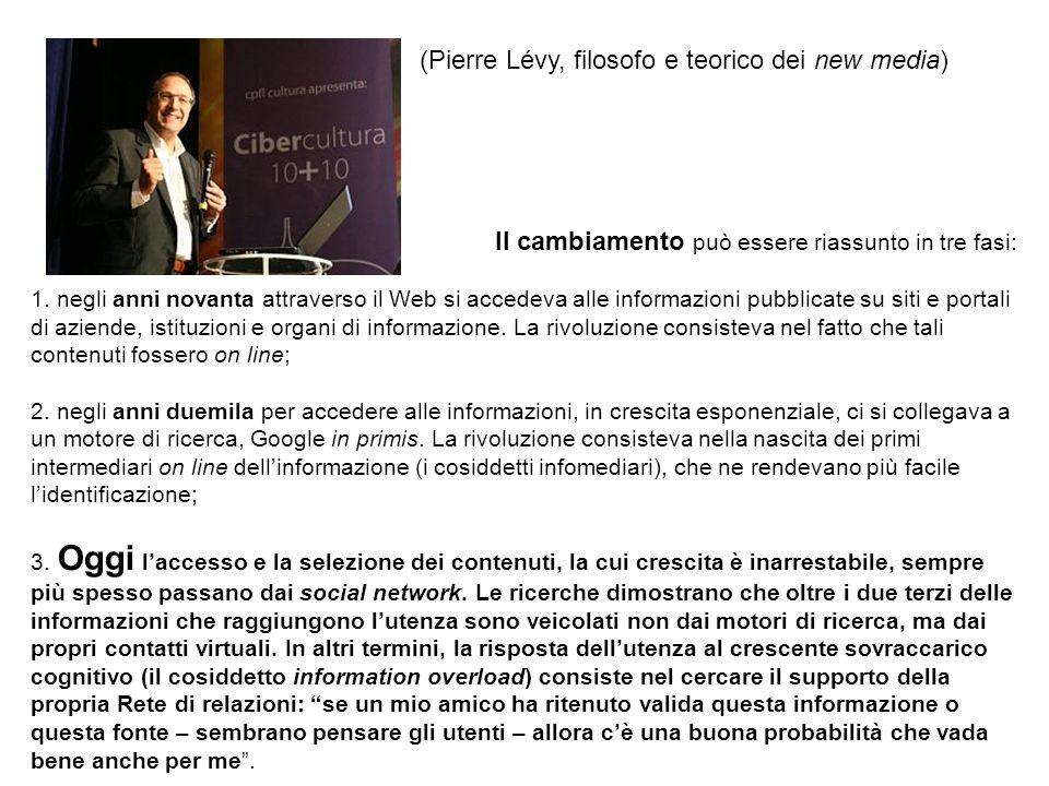 (Pierre Lévy, filosofo e teorico dei new media) Il cambiamento può essere riassunto in tre fasi: 1. negli anni novanta attraverso il Web si accedeva a