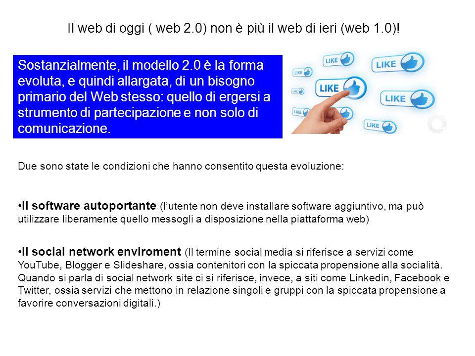 Il web di oggi ( web 2.0) non è più il web di ieri (web 1.0)! Due sono state le condizioni che hanno consentito questa evoluzione: Il software autopor
