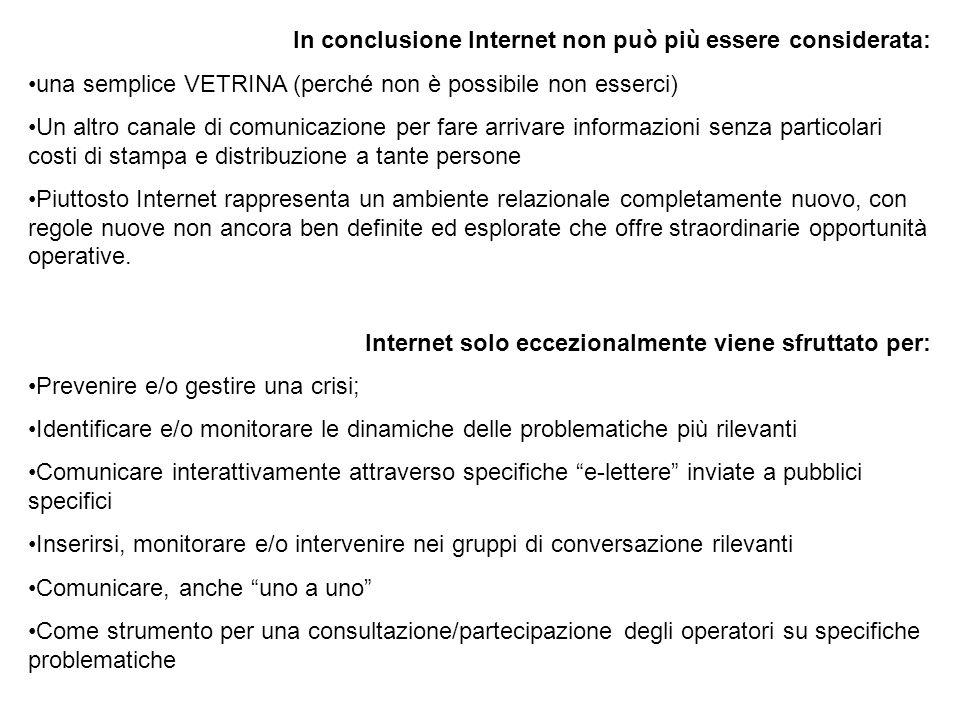 In conclusione Internet non può più essere considerata: una semplice VETRINA (perché non è possibile non esserci) Un altro canale di comunicazione per