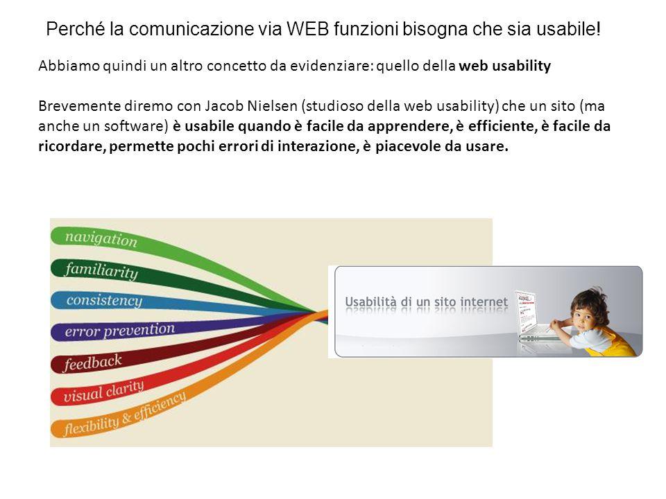 Abbiamo quindi un altro concetto da evidenziare: quello della web usability Brevemente diremo con Jacob Nielsen (studioso della web usability) che un