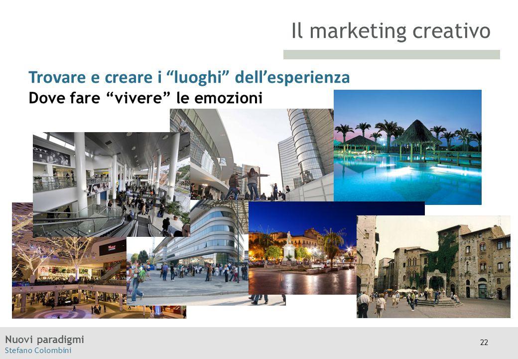 """Nuovi paradigmi Stefano Colombini TITOLO Moodle Trovare e creare i """"luoghi"""" dell'esperienza Dove fare """"vivere"""" le emozioni Il marketing creativo 22"""
