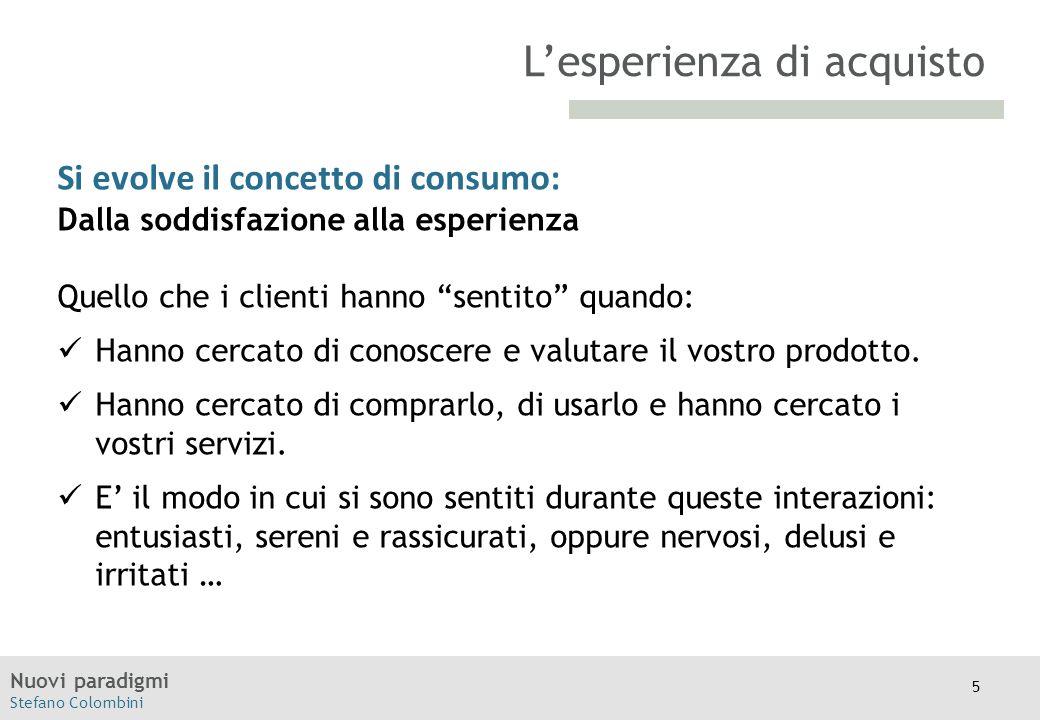 """Nuovi paradigmi Stefano Colombini TITOLO Moodle Si evolve il concetto di consumo: Dalla soddisfazione alla esperienza Quello che i clienti hanno """"sent"""