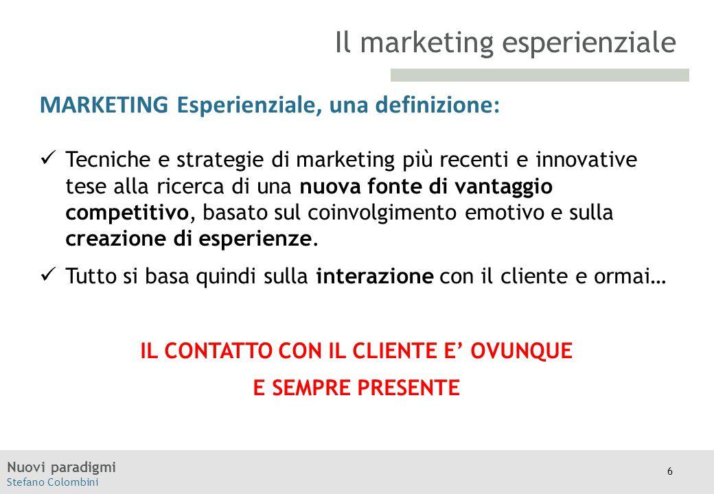 Nuovi paradigmi Stefano Colombini TITOLO Moodle MARKETING Esperienziale, una definizione: Tecniche e strategie di marketing più recenti e innovative t