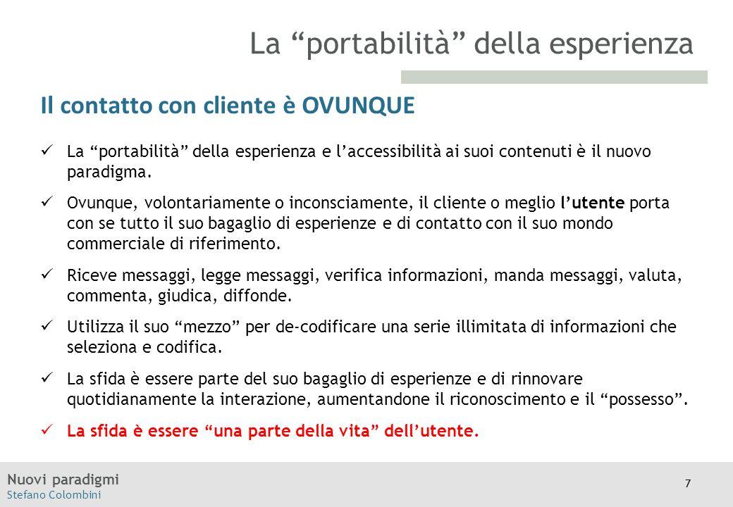 """Nuovi paradigmi Stefano Colombini TITOLO Moodle Il contatto con cliente è OVUNQUE La """"portabilità"""" della esperienza e l'accessibilità ai suoi contenut"""