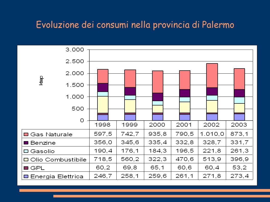 Evoluzione dei consumi nella provincia di Palermo