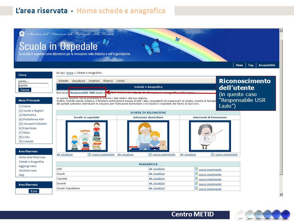 """Centro METID L'area riservata - Home schede e anagrafica Riconoscimento dell'utente (in questo caso """"Responsabile USR Lazio"""")"""