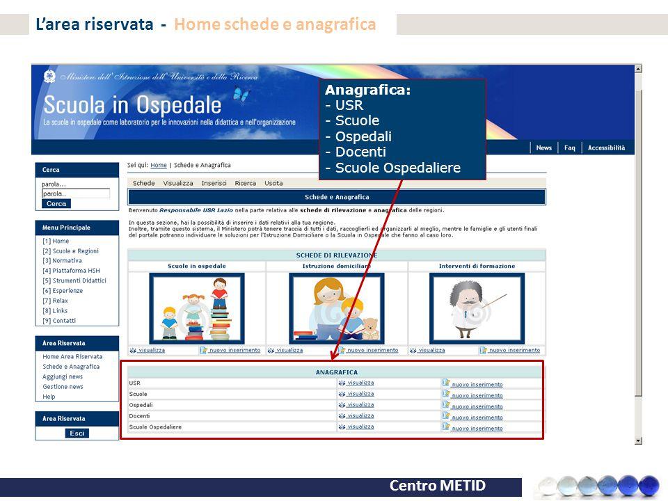 Centro METID L'area riservata - Home schede e anagrafica Anagrafica: - USR - Scuole - Ospedali - Docenti - Scuole Ospedaliere