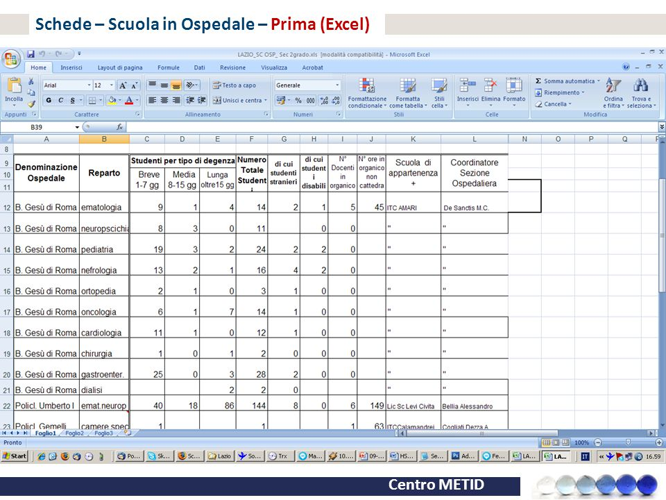 Centro METID Schede – Scuola in Ospedale – Prima (Excel)