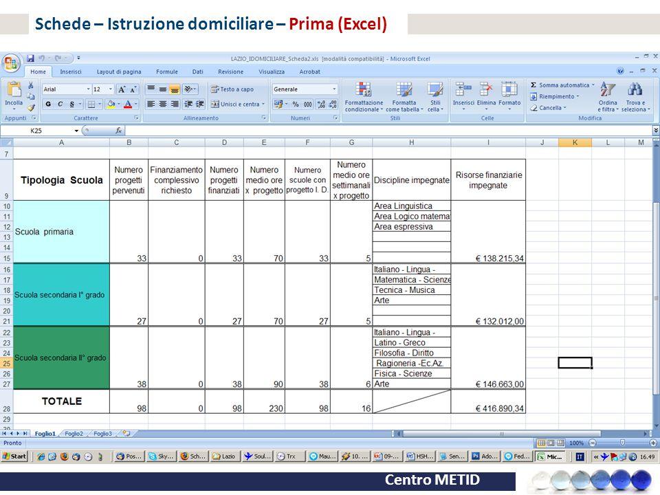 Centro METID Schede – Istruzione domiciliare – Prima (Excel)