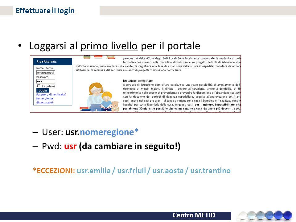 Centro METID Effettuare il login Loggarsi al primo livello per il portale – User: usr.nomeregione* – Pwd: usr (da cambiare in seguito!) *ECCEZIONI: us