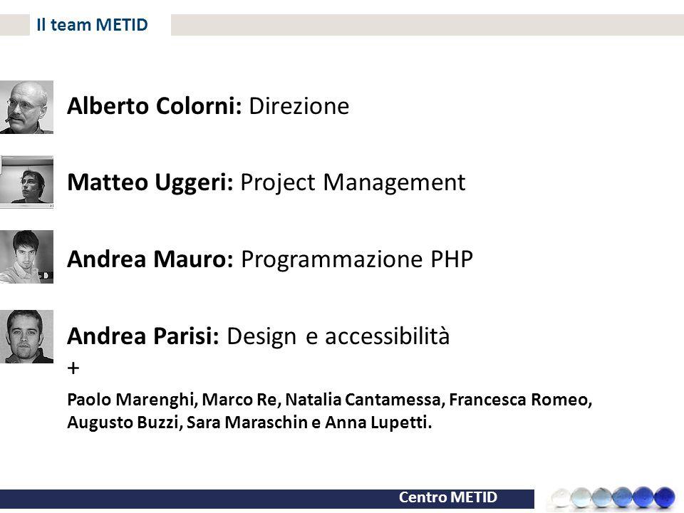 Centro METID Il team METID Alberto Colorni: Direzione Matteo Uggeri: Project Management Andrea Mauro: Programmazione PHP Andrea Parisi: Design e acces