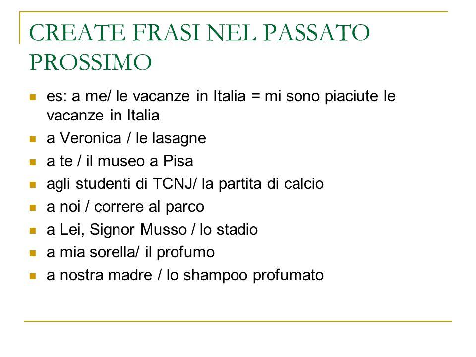 CREATE FRASI NEL PASSATO PROSSIMO es: a me/ le vacanze in Italia = mi sono piaciute le vacanze in Italia a Veronica / le lasagne a te / il museo a Pis
