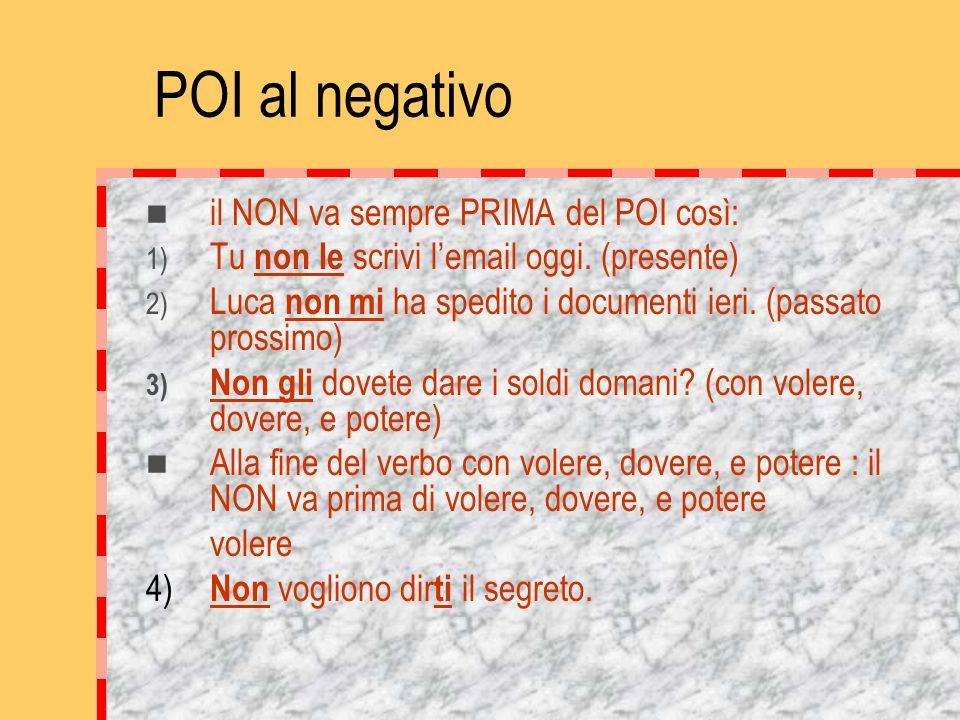 POI al negativo il NON va sempre PRIMA del POI così: 1) Tu non le scrivi l'email oggi.