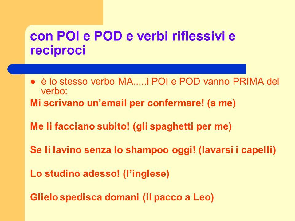 con POI e POD e verbi riflessivi e reciproci è lo stesso verbo MA.....i POI e POD vanno PRIMA del verbo: Mi scrivano un'email per confermare! (a me) M