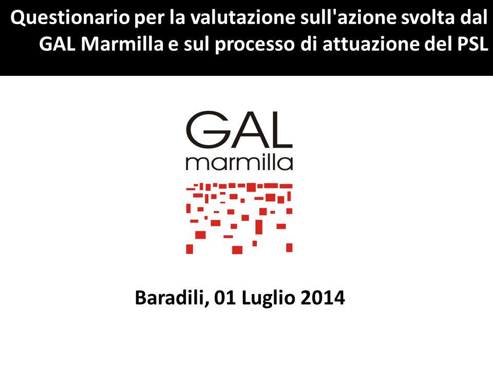 Questionario per la valutazione sull azione svolta dal GAL Marmilla e sul processo di attuazione del PSL Baradili, 01 Luglio 2014