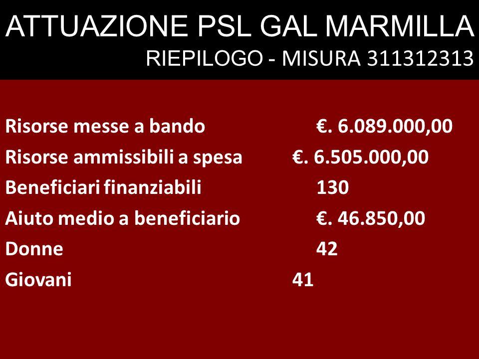 ATTUAZIONE PSL GAL MARMILLA RIEPILOGO - MISURA 311312313 Risorse messe a bando€. 6.089.000,00 Risorse ammissibili a spesa€. 6.505.000,00 Beneficiari f
