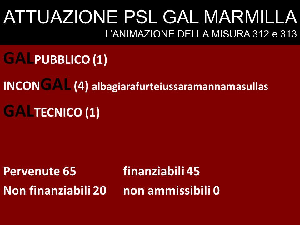 ATTUAZIONE PSL GAL MARMILLA L'ANIMAZIONE DELLA MISURA 312 e 313 GAL PUBBLICO (1) INCON GAL (4) albagiarafurteiussaramannamasullas GAL TECNICO (1) Perv