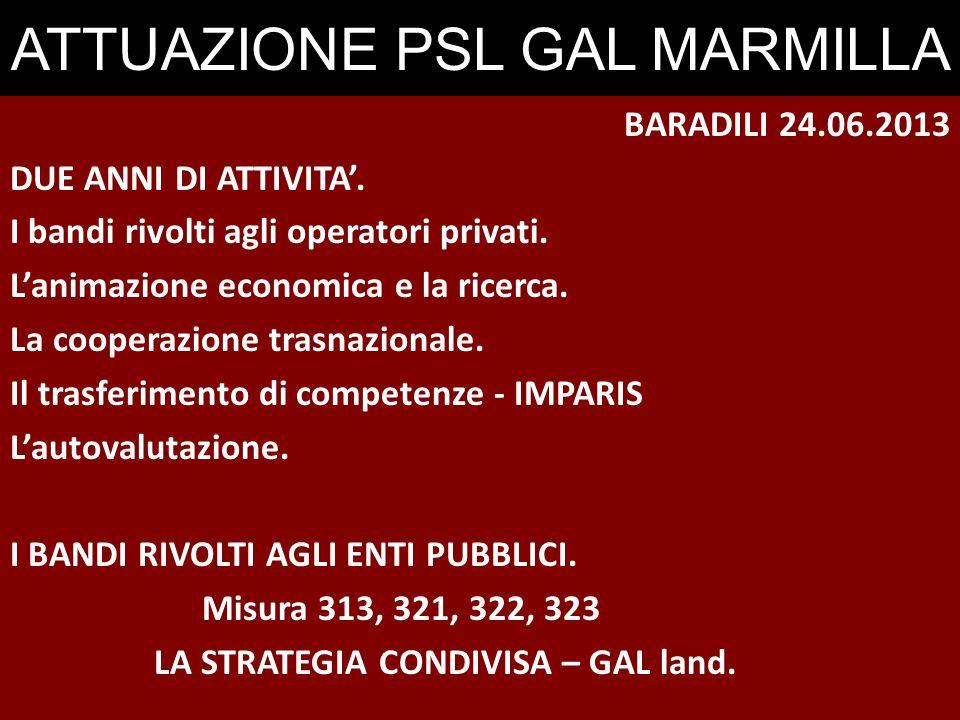 BARADILI 24.06.2013 DUE ANNI DI ATTIVITA'. I bandi rivolti agli operatori privati.