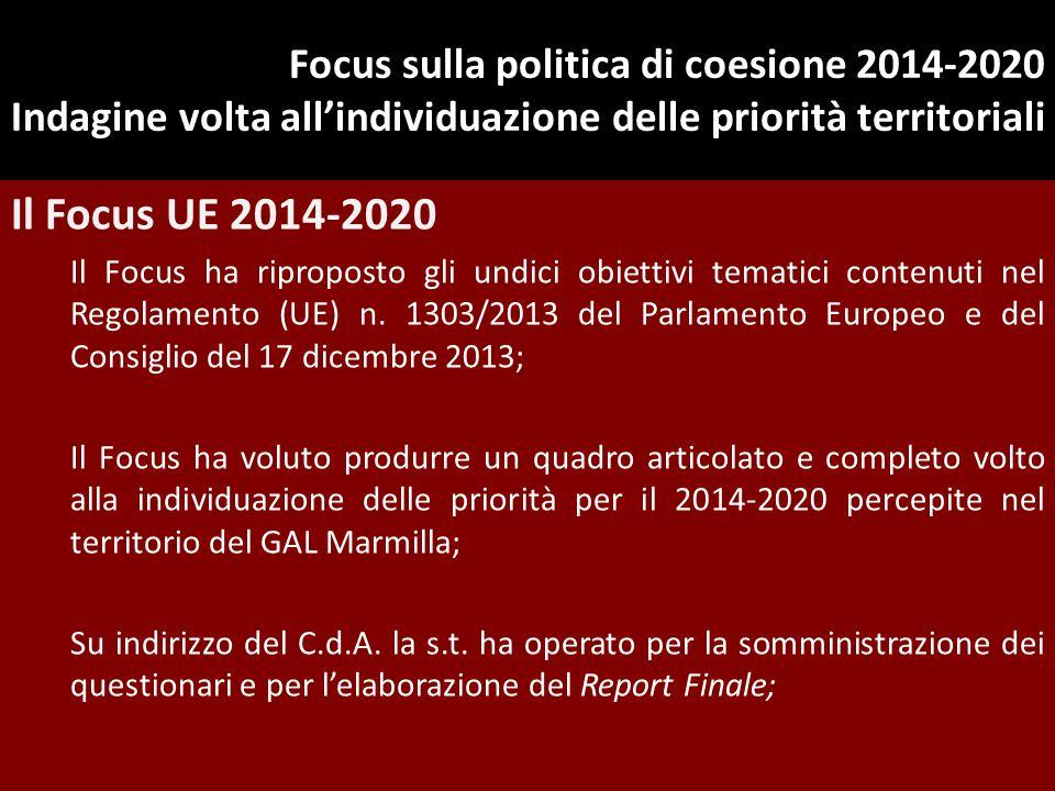 Focus sulla politica di coesione 2014-2020 Indagine volta all'individuazione delle priorità territoriali Il Focus UE 2014-2020 Il Focus ha riproposto