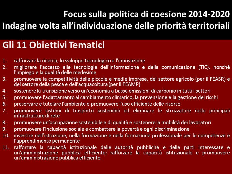 Focus sulla politica di coesione 2014-2020 Indagine volta all'individuazione delle priorità territoriali Gli 11 Obiettivi Tematici 1.rafforzare la ric