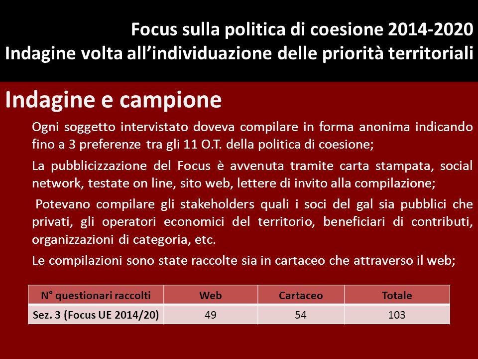 Focus sulla politica di coesione 2014-2020 Indagine volta all'individuazione delle priorità territoriali Indagine e campione Ogni soggetto intervistat