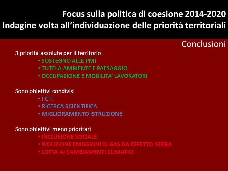 Focus sulla politica di coesione 2014-2020 Indagine volta all'individuazione delle priorità territoriali Conclusioni 3 priorità assolute per il territ