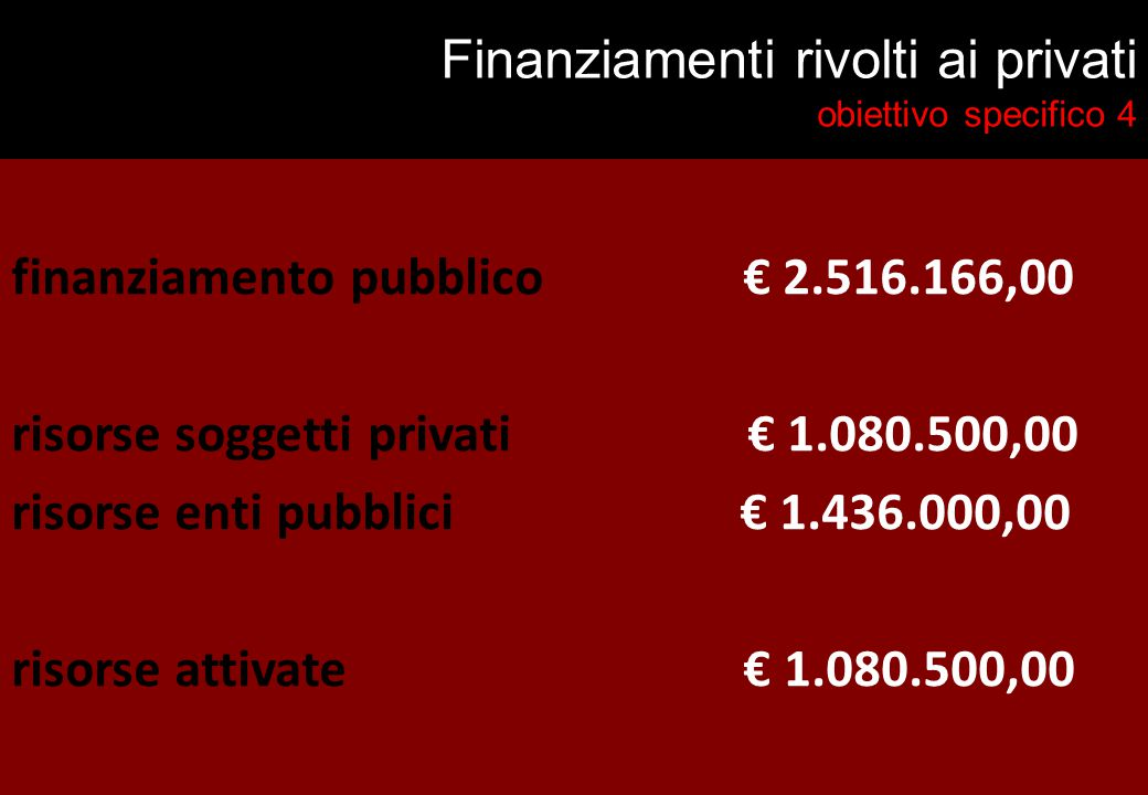 Finanziamenti rivolti ai privati obiettivo specifico 4 finanziamento pubblico € 2.516.166,00 risorse soggetti privati € 1.080.500,00 risorse enti pubblici € 1.436.000,00 risorse attivate € 1.080.500,00