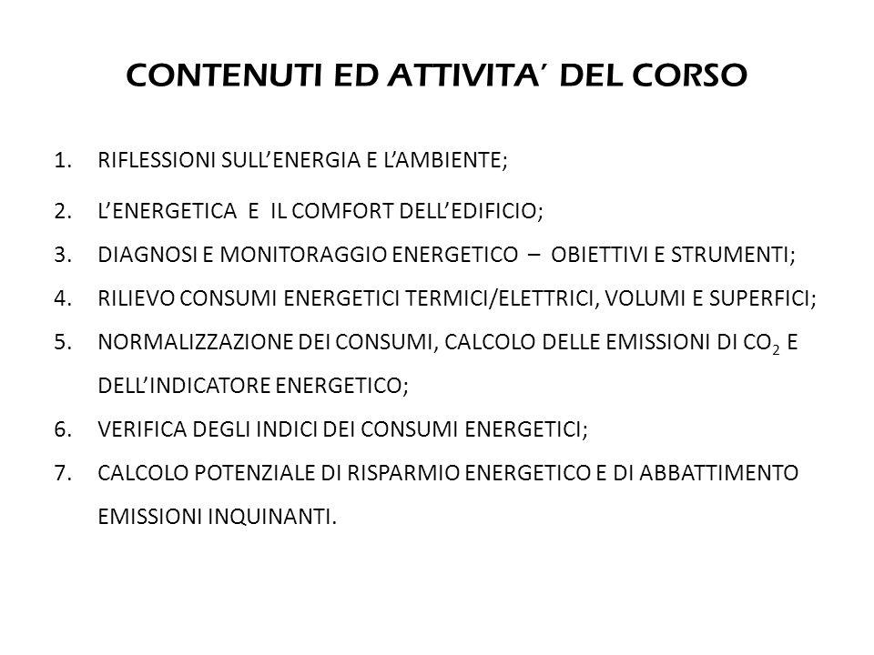 FASE 1 – RILIEVO DEI CONSUMI ANNUI DI ENERGIA (COMBUSTIBILI ED ELETTRICITA')
