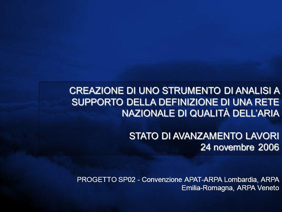 CREAZIONE DI UNO STRUMENTO DI ANALISI A SUPPORTO DELLA DEFINIZIONE DI UNA RETE NAZIONALE DI QUALITÀ DELL'ARIA STATO DI AVANZAMENTO LAVORI 24 novembre 2006 PROGETTO SP02 - Convenzione APAT-ARPA Lombardia, ARPA Emilia-Romagna, ARPA Veneto
