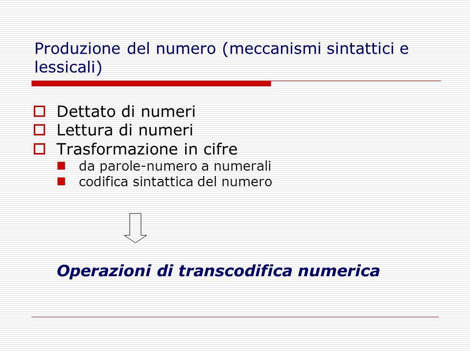  Dettato di numeri  Lettura di numeri  Trasformazione in cifre da parole-numero a numerali codifica sintattica del numero Operazioni di transcodifica numerica Produzione del numero (meccanismi sintattici e lessicali)