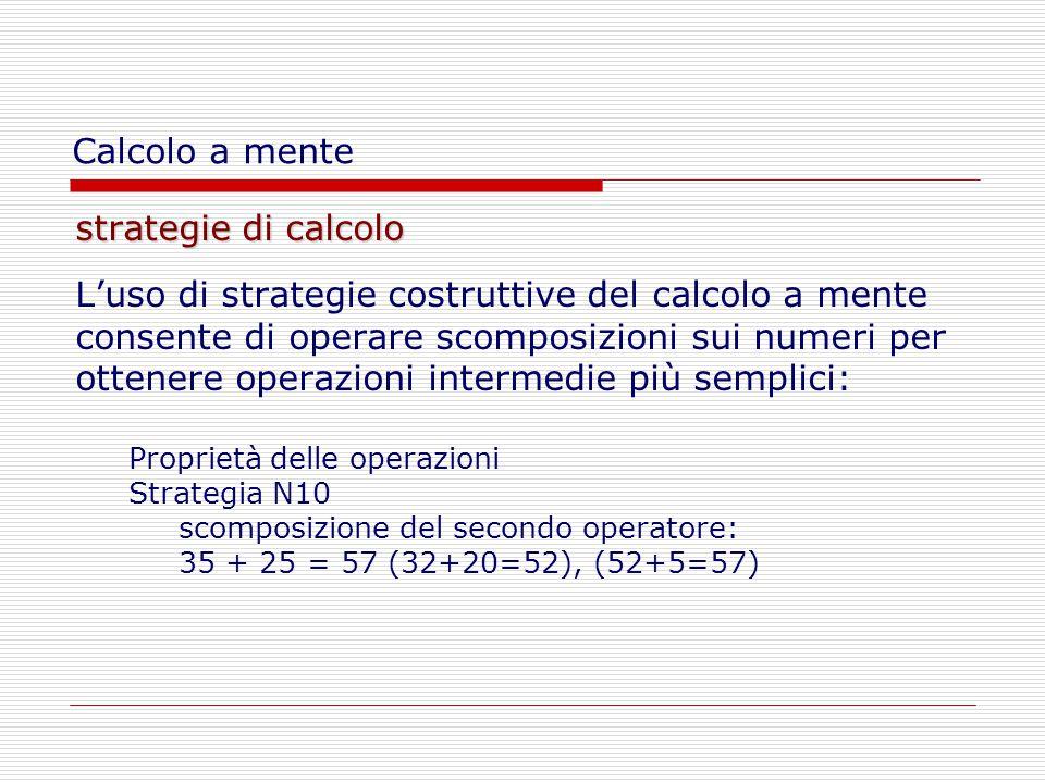 strategie di calcolo L'uso di strategie costruttive del calcolo a mente consente di operare scomposizioni sui numeri per ottenere operazioni intermedie più semplici: Proprietà delle operazioni Strategia N10 scomposizione del secondo operatore: 35 + 25 = 57 (32+20=52), (52+5=57) Calcolo a mente