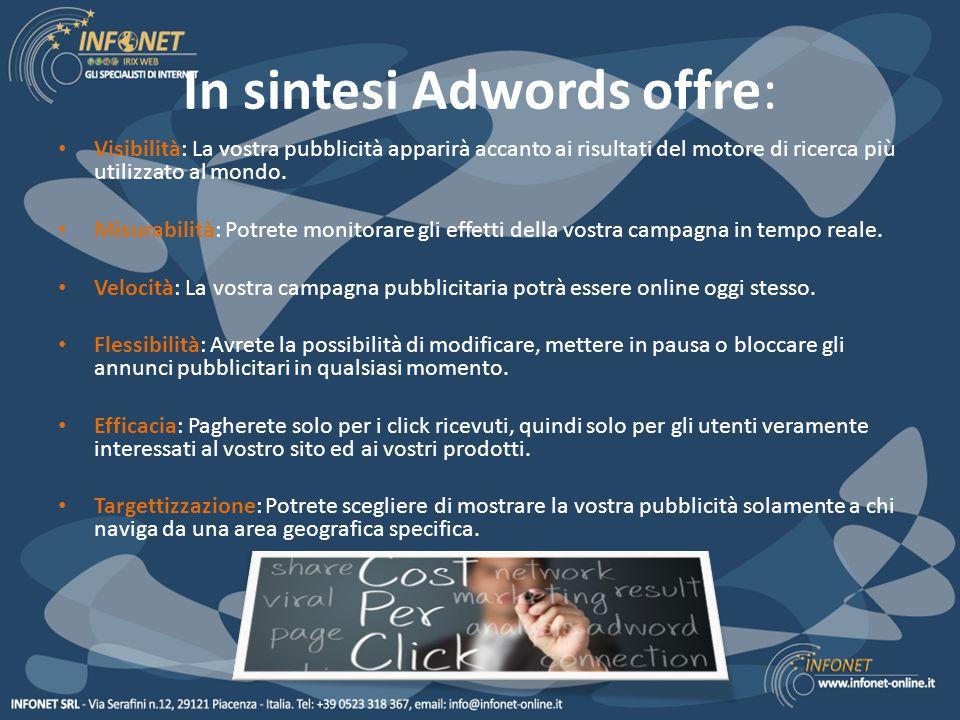 In sintesi Adwords offre: Visibilità: La vostra pubblicità apparirà accanto ai risultati del motore di ricerca più utilizzato al mondo.