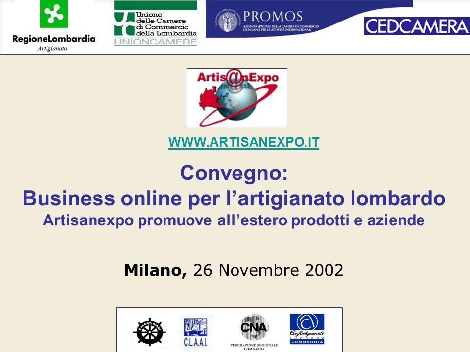 Convegno: Business online per l'artigianato lombardo Artisanexpo promuove all'estero prodotti e aziende Milano, 26 Novembre 2002 WWW.ARTISANEXPO.IT